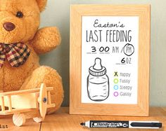 Dry Erase Newborn Feeding Tracker. Baby Shower Gift. by Committed