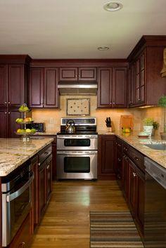 Dark Cherry Traditional Kitchen with light granite countertops inspiration