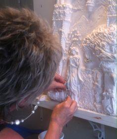 Ellie Ellis,CMS. Carved & Sculpted Plaster High Relief Panel.