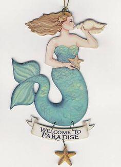 Mermaid Ornament Ocean Beach Sea Nautical Starfish Sign Scroll 6 Sayings | eBay