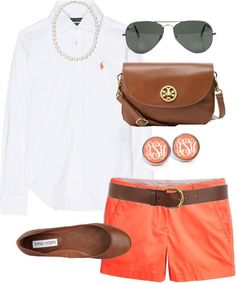 """""""Orange Shorts"""" by classically-preppy ❤ liked on Polyvore"""