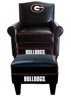 University of Georgia Leather Game Time Chair and Ottoman at www.SportsFansPlus.com