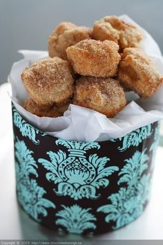 Oven Baked Cinnamon Apple Donuts in a pretty box.