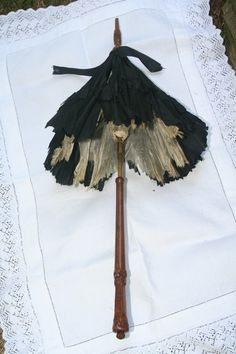 """A beautiful antique parasol from the victorian era!  Highly collectible item...an authentic mourning piece.  Child size...measures 21.5"""" long, 15.5"""" across when opened."""