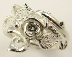 Thorned Rose Wedding Set Silver & Diamond Made by wexfordjewelers, $420.00