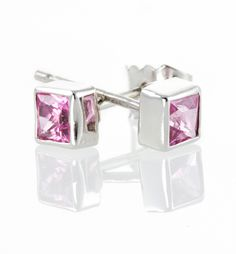 Pink Sapphire Stud Earrings .
