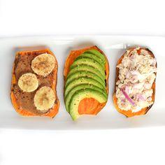 Sweet Potato Toast: 3 Ways! A great paleo & Whole30 alternative to wheat toast! Top with Almond Butter & Bananas, Avocado or Tuna!