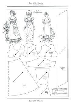 Regency dress pattern for scale dolls Sewing Doll Clothes, Sewing Dolls, Girl Doll Clothes, Doll Clothes Patterns, Doll Patterns, Vintage Patterns, Clothing Patterns, Vintage Sewing, Vintage Dress