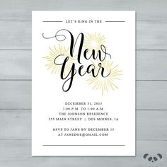 New Year's Eve Party Invitation    New by PandafunkCreations