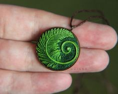 Polymer clay green fern round necklace pendant by KrinnaHandmade