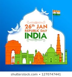 illustration of Famous Indian monument and Landmark for Happy Independence Day of India for Happy Independence Day of India India Republic Day Images, Republic Day Photos, Republic Day Indian, Happy Independence Day Images, Independence Day Poster, Indian Independence Day, School Board Decoration, Indian Freedom Fighters, National Festival