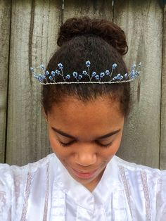 Light Blue Tiara, Purple and Blue Fairy Crown for a Purple and Blue Wedding! by BowtotheHair