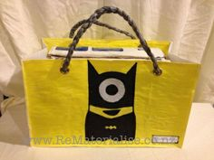 Bat minion shopping / tote bag made using 40 recycled plastic bags.  The ultimate in eco friendly, It saves you from getting more plastic bags and used up a huge quantity in its construction and diverts them from landfills and waterways. Each bag is strong and sturdy and built to last. Perfect for grocery shopping or a trip to the beach or pools.. perfect for picnics as any spills just wipe right off! The perfectly unique gift for anyone.  Includes Free shipping