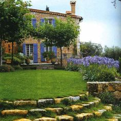 en provence; stone steps from higher elevation to lower.