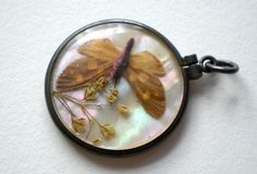 Antique Victorian Butterfly Pendant Mother of Pearl