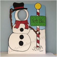 The Personalized Winter Photo Prop is Perfect for any Holiday & Winter Theme Party! A great way to have fun with photos and hold your balloons.  Pick one of these single face hole Winter themed cutouts with a personalized Sign that are Hand Painted on durable 40x30 (3.5 ft tall) Foam board. A 3-piece stand is included upon request.  **This can be made Taller on wood with premium exterior paint for annual and outdoor use, message me for details and prices**  Please msg me before ordering…
