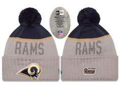 c91f14f03 Mens   Womens St. Louis Rams New Era NFL Vivid Team Graphics On-Field  Sports Knit Pom Beanie Hat - Heather Grey   Navy
