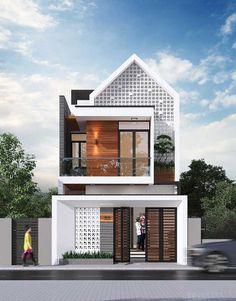 Narrow House Designs, Modern Small House Design, Modern Minimalist House, 3 Storey House Design, House Front Design, One Storey House, Minimalis House Design, Small House Exteriors, Home Building Design