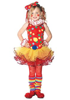 This child circus clown cutie costume includes a polka dot clown dress and tutu skirt! Get this funny clown costume for Halloween or a clown themed party! Girl Clown Halloween Costumes, Clown Party, Kids Costumes Girls, Circus Costume, Circus Clown, Tutu Costumes, Cool Halloween Costumes, Costume Ideas, Funny Costumes