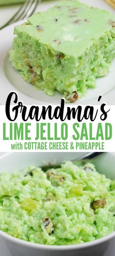 Grandma's Lime Green Jello Recipe with Cottage Cheese & Pineapple is a retro cottage cheese jello salad Grandma made for holiday meals. Make for Thanksgiving, Christmas, or potlucks - only 6 ingredients needed. Green Jello Salad, Lime Jello Salads, Fruit Salad Recipes, Strawberry Recipes, Recipes With Jello, Jello With Fruit, Lime Recipes, Salad Recipes For Dinner, Mexican Recipes