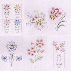 Value Pack No. 2: Flowers at Stitching Cards - ePatterns for paper embroidery