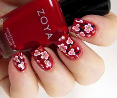 We're not quite done with red nails yet. In celebration of Lunar New Year (this thursday), here's a cherry blossom nail design tutorial made just for you. I couldn't find a real demonstration, so I drew it up on photoshop. Supplies: Polishes - red, black, white, pink, and gold. A couple of tooth picks or dot tool Instructions: 1. Apply a base coat and your red base polish. Then start drawing the branches using a black polish. 2. Take your dot tool or the round part of the tooth pick and…