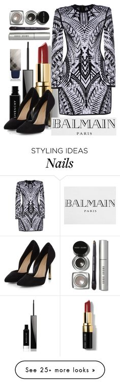 """""""Balmain Type of Night"""" by suzysfashion on Polyvore featuring Bobbi Brown Cosmetics, Givenchy, Balmain and Burberry"""