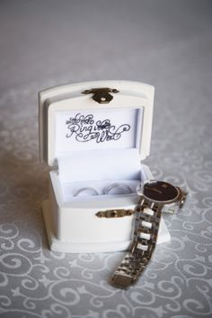 Very sweet ring box for the bride & groom's rings! #wedding #rings #weddingrings #weddingbox #weddingday Photography by: Digital Dream Productions