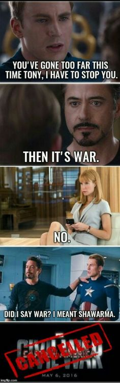 Captain America: civil war cancelled<<Pepper Potts--she commands authority.