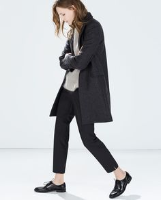 Image 3 of WOOL COAT WITH LAPELS from Zara