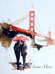 San Francisco Love Golden Gate Bridge Travel Watercolor Illustration - Art Print for Your Contemporary Home - Romantic Bliss by Lana Moes
