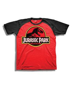 Look at this Red & Black Jurassic Park Logo Raglan Tee - Boys on #zulily today!