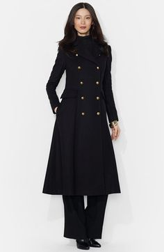 Free shipping and returns on Lauren Ralph Lauren Long Wool Blend Military Coat at Nordstrom.com. Cut a dashing figure in this long fit-and-flare coat crafted from a warm wool blend infused with soft cashmere. The double-breasted style exudes military polish with gleaming regimental buttons that also secure the back tab.