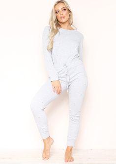 4e33b3b0604 Missyempire - Anita Grey Pearl Embellished Loungewear Set New Trainers