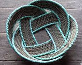 "12"" Fruit Bowl Basket Rope Centerpiece Nautical Decor Made in Alaska Unique"