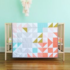 coral kaleidoscope wholecloth blanket // made-to-order