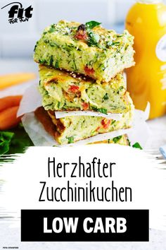 Hearty zucchini cake recipe - FIT FOR FUN - Cake can also be hearty and taste incredibly delicious! Our recipe idea for all low-carb fans: juic - Law Carb, Vegetarian Recipes, Healthy Recipes, Zucchini Cake, Zucchini Sticks, Recipe Zucchini, Food Inspiration, Clean Eating, Dinner Recipes