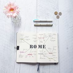 A mind-map to get ready for Rome ✈ : bulletjournal Bullet Journal Voyage, Bullet Journal Travel, Bullet Journal Spread, Bullet Journal Layout, Voyage Rome, Voyage New York, Bujo, Mental Map, Rome Travel