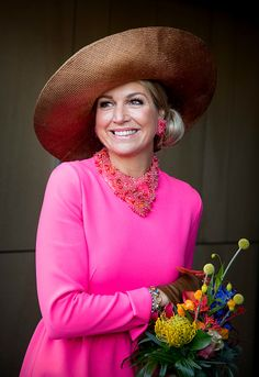 Queen Maxima of The Netherlands visits the town hall on February 2017 in Krimpen aan den IJssel, Netherlands. (Photo by Patrick van Katwijk/Getty Images) Fuschia Dress, Burnt Orange Dress, Dutch Queen, Simple Black Dress, Light Blue Dresses, Royal Engagement, Queen Maxima, Royal Fashion, Fashion Books