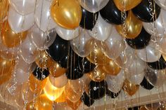 Black & Gold Ceiling Balloons Black & Gold Loose Ceiling Balloons with Shimmer & Sparkle Ribbon Birthday Balloon Surprise, Gold Birthday Party, Birthday Balloons, 50th Birthday, Birthday Garland, Black Gold Party, Black White Gold, Pearl White, Gold Ceiling