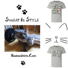 """Cool, comfortable, conversation starting workout tees just for women who love cats.  One reads """"Would You Spend 9 Lives with me?""""  The other reads """" Love Comes in all Colors.  Unique and only at Neatees.   Perfect for that lady on your gift list!"""