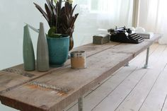 Reclaimed Scaffolding Boards and Galvanised Steel Pipe Long Low TV Bench or Console Table from inspiritdeco on Etsy. Pipe Furniture, Bespoke Furniture, Living Furniture, Furniture Fittings, Reclaimed Furniture, Scaffolding Wood, Scaffold Boards, Low Console Table, Made To Measure Furniture