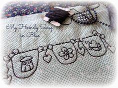 """""""My Homely Swag In Blue"""" inside Month 2 of the Jenny of Elefantz Stitchery Club. It's so easy to join!"""