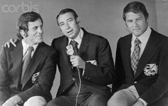 Monday Night Football origial trio and Iconic sportscasting team - Don Meredith, former Dallas Cowboys quarterback, Howard Cosell and Frank Gifford.