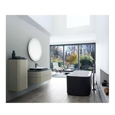 Elegant expressive bathroom interior with an added extra in terms of form and color. With Happy D.2 Plus @Duravit has teamed up with sieger design to realize current trends in colors design and finishes. The archetypical open oval of the Happy D. design classic also runs through the elements of this new supplementary range. #Archiproducts #duravit #design #interiordesign #shinebright