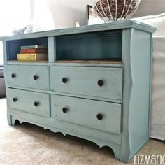 Shabby Chic Dresser with Burlap Shelves {Dressers}