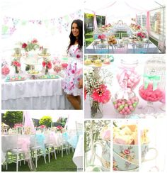 Floral High Tea Bridal Shower with Such Beautiful Ideas via Kara's Party Ideas //What a precious party! I especially love the soft color pallet used in it, it's absolutely beautiful! I also love all of the darling tea party ideas, such as the tea kettle cake and the tea kettle cupcake toppers. This party is so cute and would not only make a really cute bridal shower, but would be a fun playdate or garden party as well.