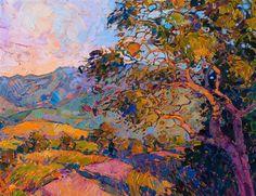 Detail of Vista Oak, oil painting by Erin Hanson.