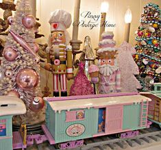 Penny's Vintage Home: Precious Moments Christmas Train Gingerbread Christmas Decor, Candy Land Christmas, Pink Christmas Decorations, Christmas Tale, Christmas Scenes, Very Merry Christmas, Cozy Christmas, Christmas And New Year, Christmas Holidays