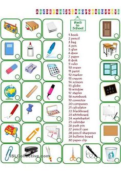 A collection of English ESL worksheets for home learning, online practice, distance learning and English classes to teach about school, objects, school objects Vocabulary Worksheets, Kindergarten Worksheets, Printable Worksheets, Free Worksheets, Printables, English Worksheets For Kids, English Activities, English Lessons, Learn English